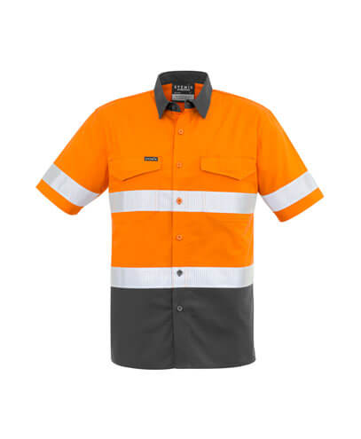 ZW835 Adults Taped Hi Viz Spliced Shirt - Orange/Charcoal