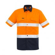 ZW835 Adults Taped Hi Viz Spliced Shirt - Orange/Navy