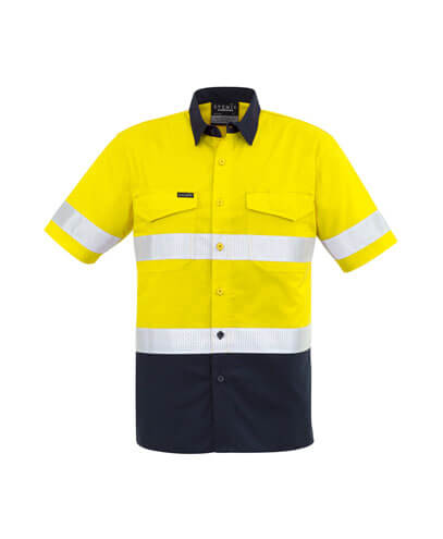 ZW835 Adults Taped Hi Viz Spliced Shirt - Yellow/Navy