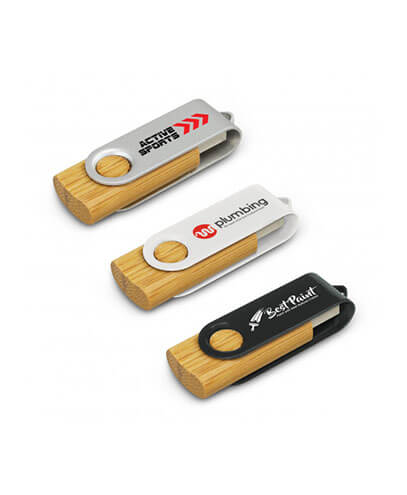 117042 Helix 4GB Bamboo Flash Drive - Printed Examples